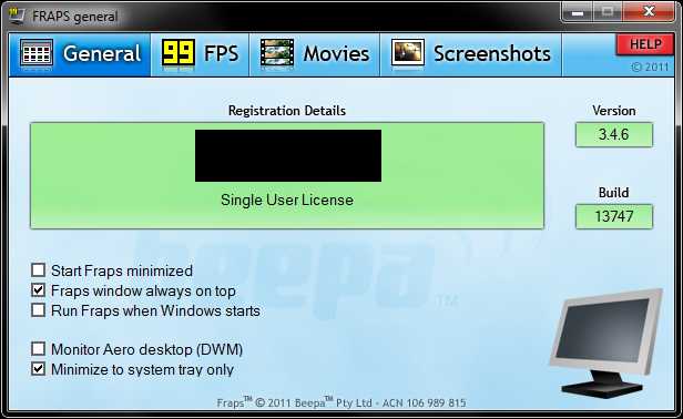 fraps 3.5 99 registered